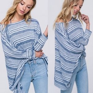 SOPHIE Striped Oversized Top - NAVY